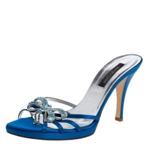 Sergio Rossi Blue Satin Crystal Embellished Slide Sandals Size 37