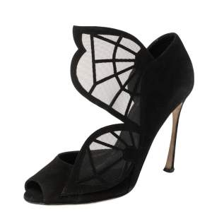 Sergio Rossi Black Suede and Mesh Butterfly Peep Toe Pumps Size 38.5