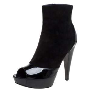 Sergio Rossi Black Suede And Patent Leather Peep Toe Platform Booties Size 39.5
