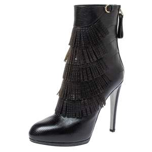 Sergio Rossi Black Lizard Embossed Leather Fringe Boots Size 38.5