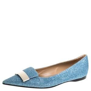 Sergio Rossi Light Blue Glitter Metal Detail Ballet Flats Size 39.5