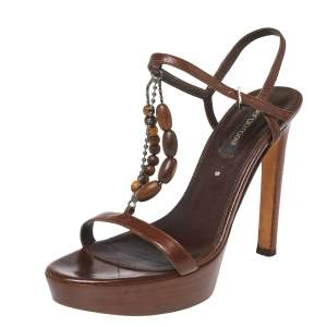 Sergio Rossi Brown Leather Bead Embellished Wooden T Strap Platform Sandals Size 37