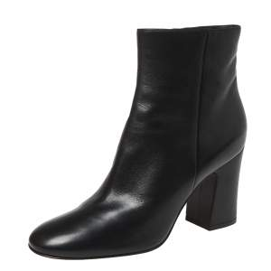 Gianvito Rossi Black Leather Round Toe Block Heel Ankle Boots Size 41