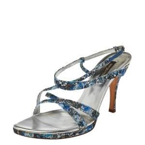 Sergio Rossi Blue Glittered Fabric Strappy Sandals Size 40