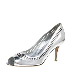 Sergio Rossi Silver Laser Cut Leather Pumps Size 37