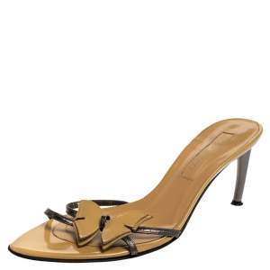 Sergio Rossi Beige/Grey Patent Leather Butterfly Curve Heel Slide Sandals Size 38.5
