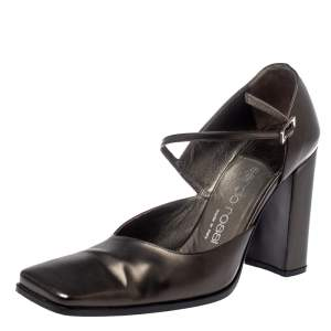 Sergio Rossi Dark Grey Leather Ankle Strap Square Toe Pumps Size 37.5