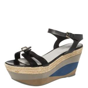 Sergio Rossi Black Leather Wedge Espadrille Ankle Strap Sandals Size 40