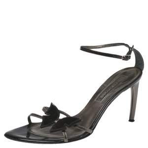 Sergio Rossi Black Patent Leather Butterfly Ankle Strap Sandals Size 38.5