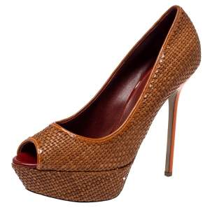 Sergio Rossi Brown Woven Leather Peep Toe Pumps Size 41