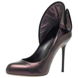 Sergio Rossi Purple Leather Swirl Detail Round Toe Pumps Size 46