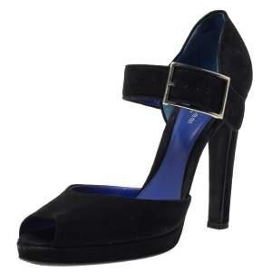 حذاء كعب عالى سيرجيو روسى مقدمة مفتوحة سيور كاحل دورسيه سويدى أسود مقاس 38
