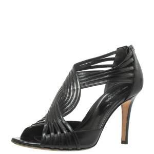 Sergio Rossi Black Leather Braid Sandals Size 37