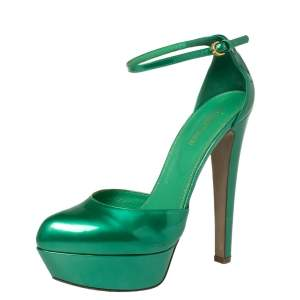 Sergio Rossi Green Patent Leather Ankle Strap Platform Sandals Size 39