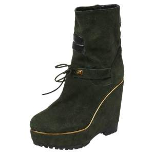 Sergio Rossi Dark Green Suede Lace Wedge Ankle Boots Size 40