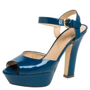 Sergio Rossi Blue Patent Leather Platform Peep Toe Ankle Strap Sandals 37