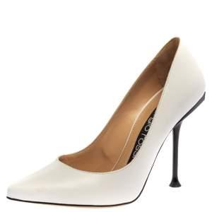 حذاء كعب عالي سيرجيو روسي جلد أبيض مقاس 36