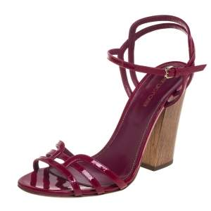 Sergio Rossi Pink Patent Leather Ankle Strap Sandals Size 40