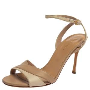 Sergio Rossi  Beige/Cream Leather Ankle Strap Sandals Size 38