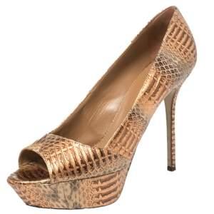 حذاء كعب عالي سيرجيو روسي جلد ثعبان ثنائي اللون ميتاليك نعل سميك مقاس 39