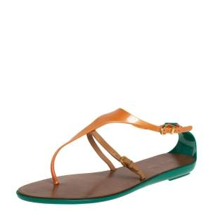 Sergio Rossi Multicolor Rubber And Leather Thong Sandals Size 40