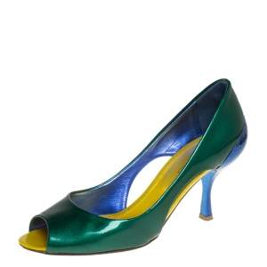 Sergio Rossi Green/Blue Patent Leather Peep Toe Pump Size 37