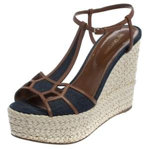 Sergio Rossi Blue/Brown Denim Fabric And Leather Wedge Espadrille Ankle Strap Sandals Size 40.5
