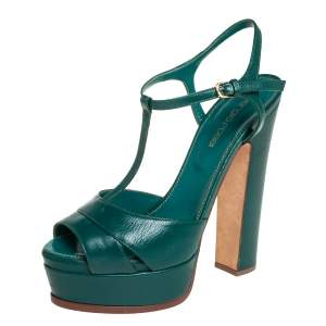 Sergio Rossi Green Leather T Strap Platform Sandals Size 36.5