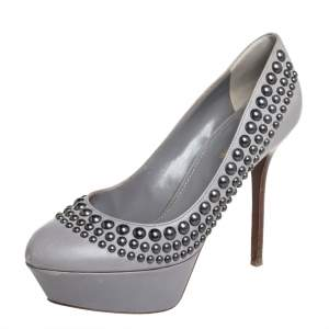 Sergio Rossi Grey Leather Studded Platform Pumps Size 37