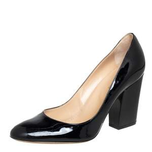 Sergio Rossi Black Patent Leather Block Heel Pumps Size 39.5