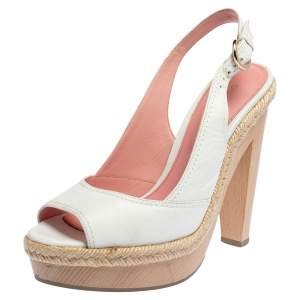 Sergio Rossi Pink/White Leather Espadrille Trim Platform Slingback Sandals Size 36