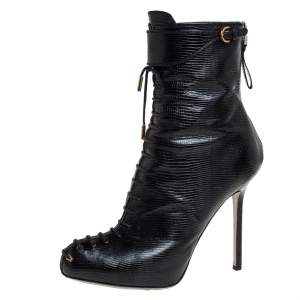 Sergio Rossi Black Lizard Embossed Leather Lace Up  Boots Size 38
