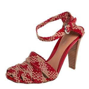 Sergio Rossi Beige/Red Woven Patent Leather and Raffia Ankle Strap Sandals Size 35