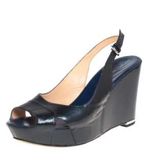 Sergio Rossi Dark Blue Patent Leather Wedge Platform Slingback Sandals Size 39.5