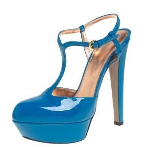 Sergio Rossi Blue Patent Leather T-Strap Platform Sandals Size 39
