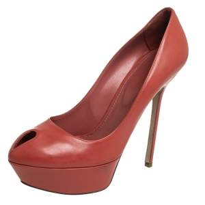 Sergio Rossi Brown Leather Peep Toe Platform Pumps Size 39