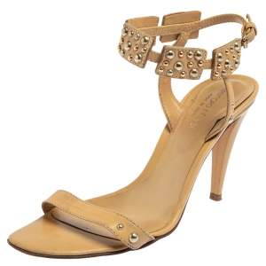 Sergio Rossi Beige Leather Ankle Strap Sandals Size 37