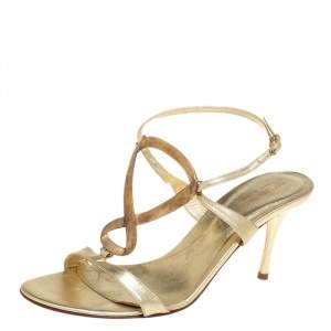 Sergio Rossi Gold Leather Open Toe Ankle Strap Sandals Size 38