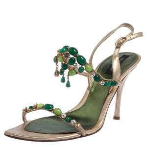 Sergio Rossi Gold Leather Jewel Embellished Ankle Strap Sandals Size 38.5
