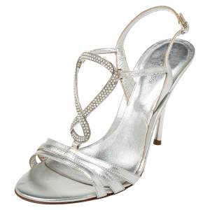 Sergio Rossi Metallic  Silver Leather Open Toe Ankle Strap Sandals Size 40