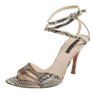 Sergio Rossi Beige/Brown Python Leather Ankle Strap Sandals Size 39.5