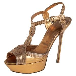 Sergio Rossi Metallic Gold Leather Ankle Strap Sandals Size 39
