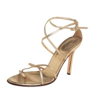 Sergio Rossi Gold Leather Strappy Sandals Size 38