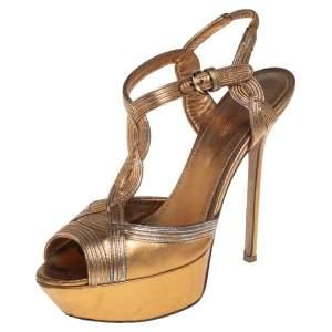 Sergio Rossi Metallic Gold Open Toe Platform T Strap Sandals Size 37.5