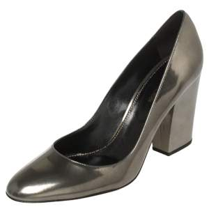 Sergio Rossi Olive Green Patent Leather Block Heel Pumps Size 41