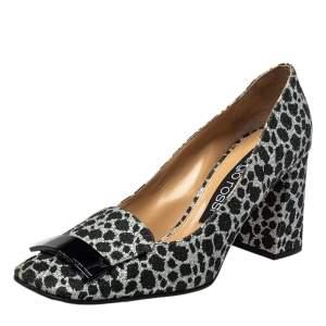 Sergio Rossi Black/Silver Animal Print Glitter SR1 Block Heel Pumps Size 39.5