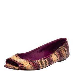 Sergio Rossi Python Leather Open Toe Ballet Flats Size 38.5