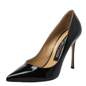 Sergio Rossi Black Patent Leather Pointed-Toe Pumps Size 37.5