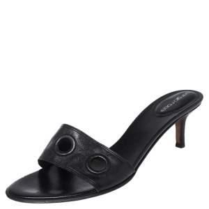 Sergio Rossi Black Leather Slide  Sandals 39