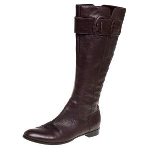 Sergio Rossi Brown Leather Bucke Embellished Mid Calf Boots Size 39.5